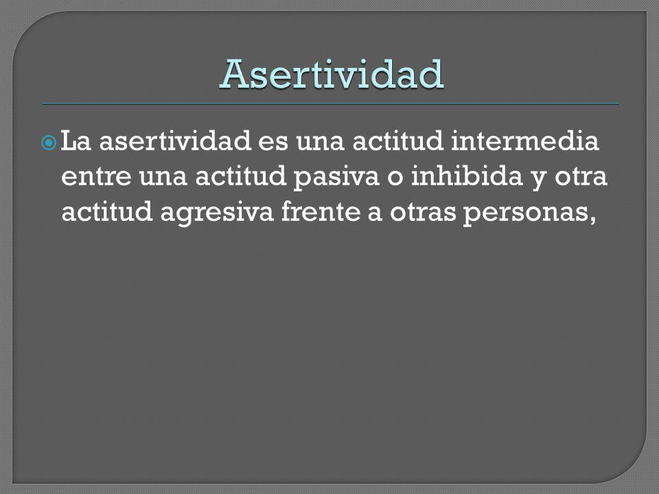  La asertividad es una actitud intermedia entre una actitud pasiva o inhibida y otra actitud agresiva frente a otras personas,