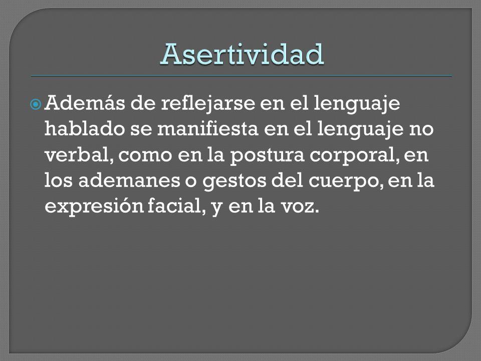  Además de reflejarse en el lenguaje hablado se manifiesta en el lenguaje no verbal, como en la postura corporal, en los ademanes o gestos del cuerpo, en la expresión facial, y en la voz.