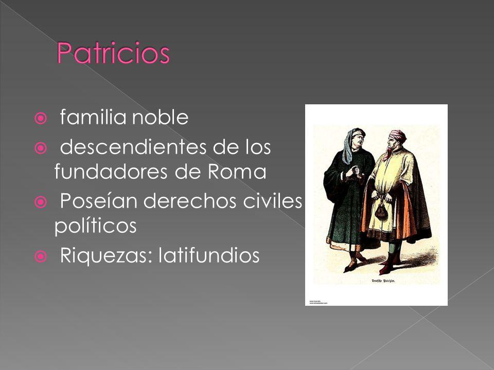  familia noble  descendientes de los fundadores de Roma  Poseían derechos civiles y políticos  Riquezas: latifundios