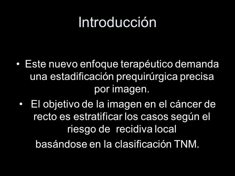 Los 4 aspectos que más influyen en el riesgo de recidiva local Estadío T2-T3, Margen de resección circunferencial (CRM: fascia mesorrectal) Invasión local avanzada (T4) Afectación de los ganglios regionales