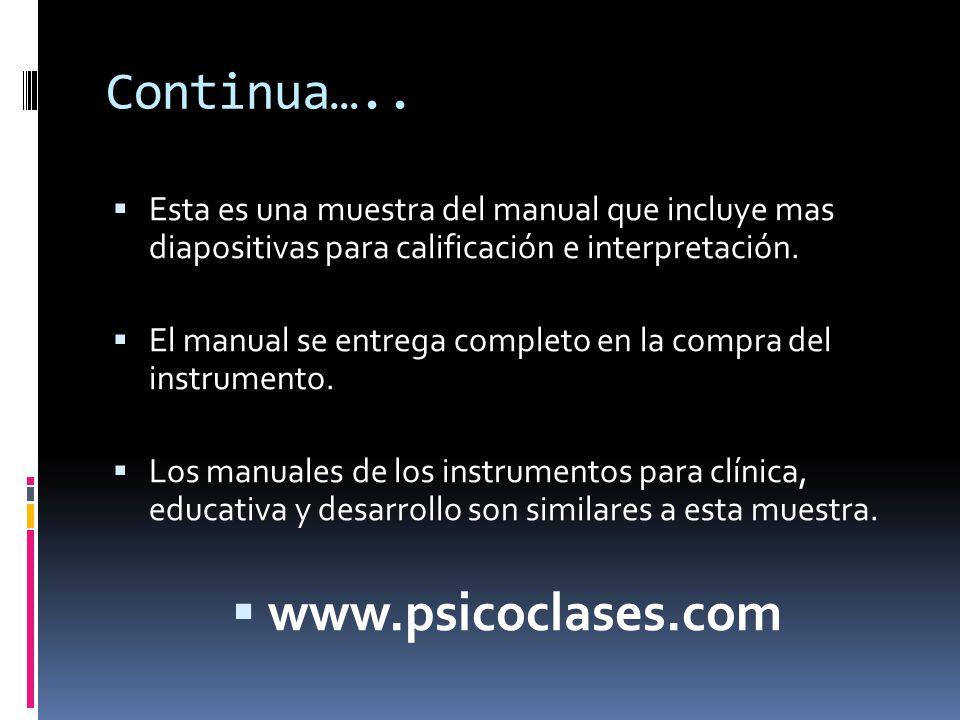 Continua…..  Esta es una muestra del manual que incluye mas diapositivas para calificación e interpretación.  El manual se entrega completo en la co