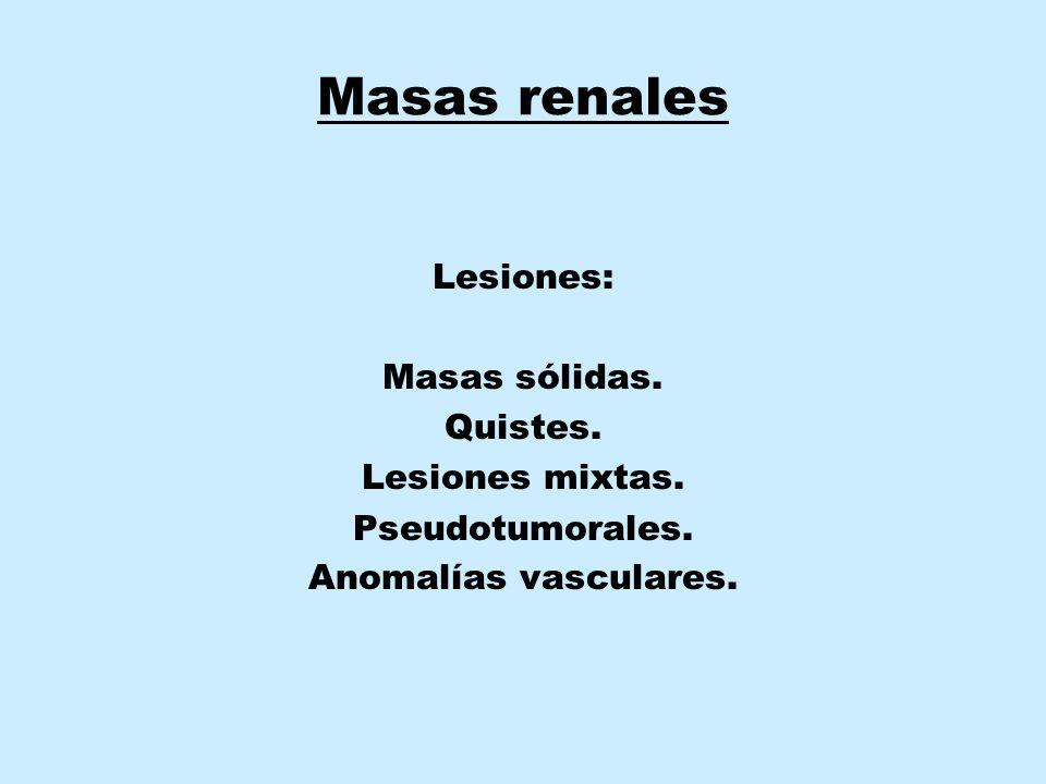 Masas renales Lesiones: Masas sólidas. Quistes. Lesiones mixtas. Pseudotumorales. Anomalías vasculares.