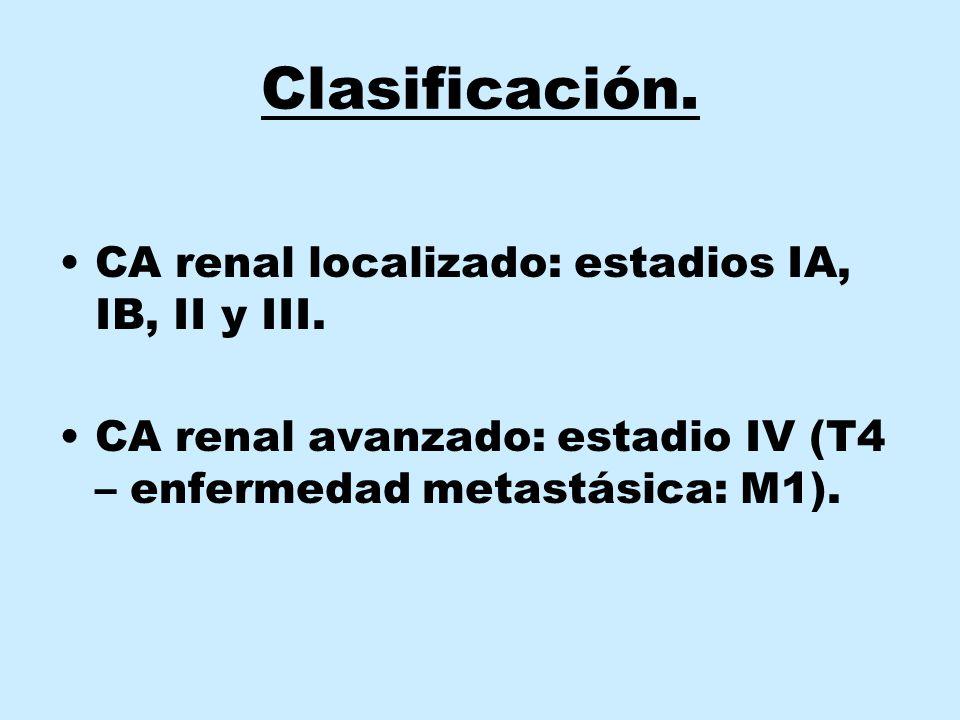 Clasificación. CA renal localizado: estadios IA, IB, II y III. CA renal avanzado: estadio IV (T4 – enfermedad metastásica: M1).