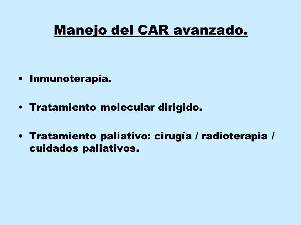 Manejo del CAR avanzado. Inmunoterapia. Tratamiento molecular dirigido. Tratamiento paliativo: cirugía / radioterapia / cuidados paliativos.