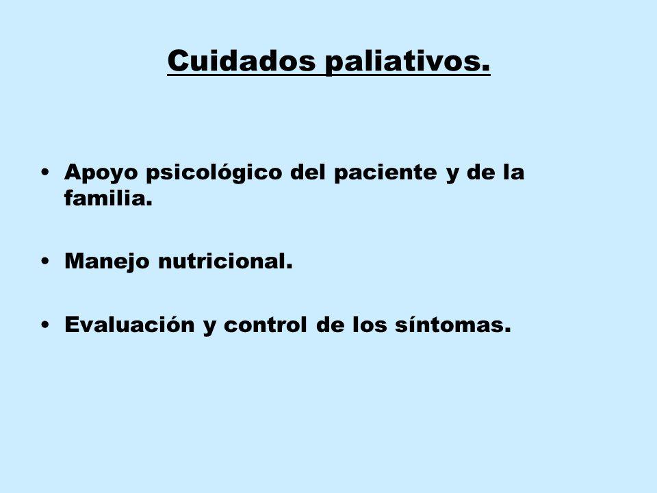 Cuidados paliativos. Apoyo psicológico del paciente y de la familia. Manejo nutricional. Evaluación y control de los síntomas.