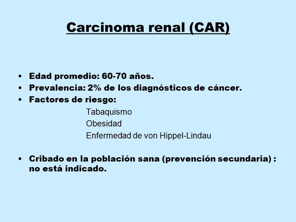 Carcinoma renal (CAR) Edad promedio: 60-70 años. Prevalencia: 2% de los diagnósticos de cáncer. Factores de riesgo: Tabaquismo Obesidad Enfermedad de