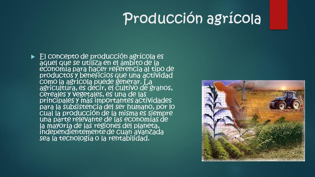 Producción agrícola  El concepto de producción agrícola es aquel que se utiliza en el ámbito de la economía para hacer referencia al tipo de productos y beneficios que una actividad como la agrícola puede generar.