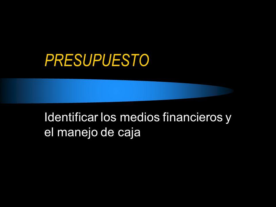 PRESUPUESTO Identificar los medios financieros y el manejo de caja