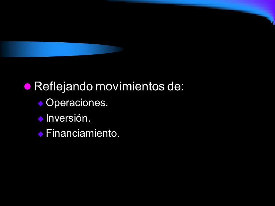 Reflejando movimientos de:  Operaciones.  Inversión.  Financiamiento.