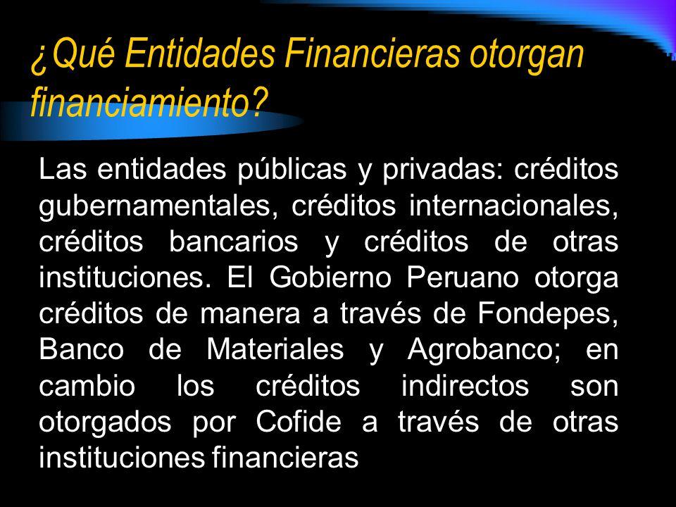 ¿Qué Entidades Financieras otorgan financiamiento.