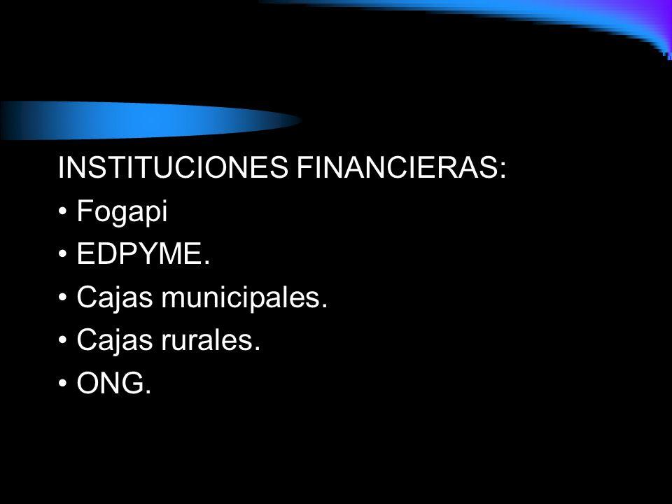 INSTITUCIONES FINANCIERAS: Fogapi EDPYME. Cajas municipales. Cajas rurales. ONG.