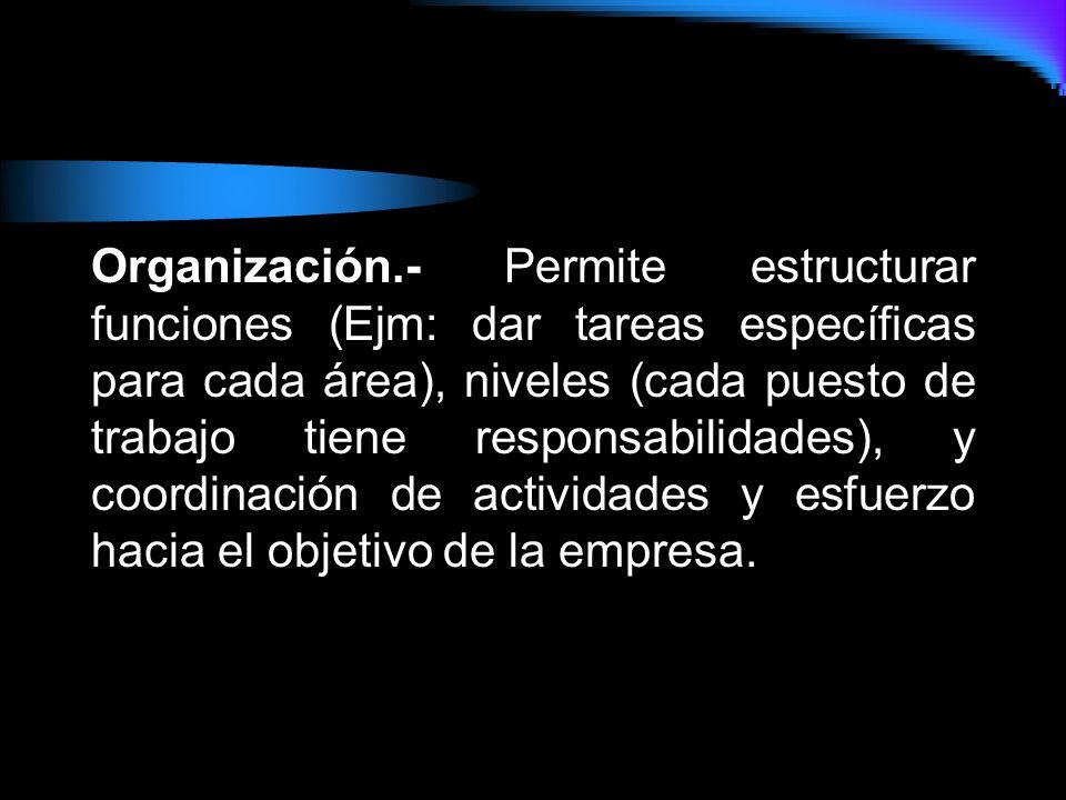 Coordinación.-Dirigir, guiar y orientar al personal y buscar un equilibrio entre las diferentes áreas de la empresa..