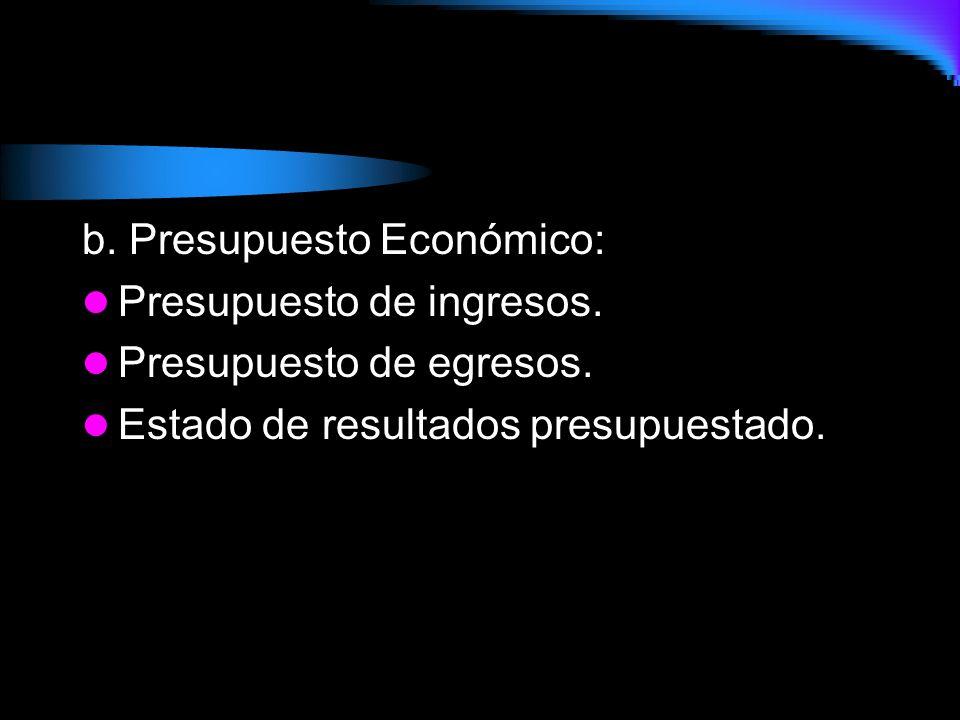 b.Presupuesto Económico: Presupuesto de ingresos.