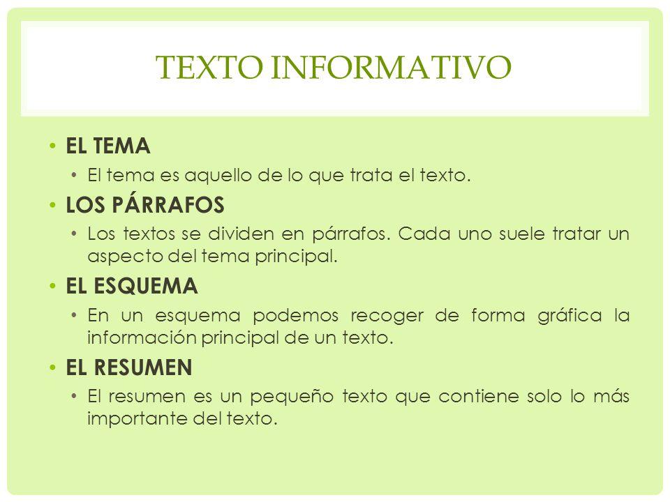 TEXTO INFORMATIVO EL TEMA El tema es aquello de lo que trata el texto.