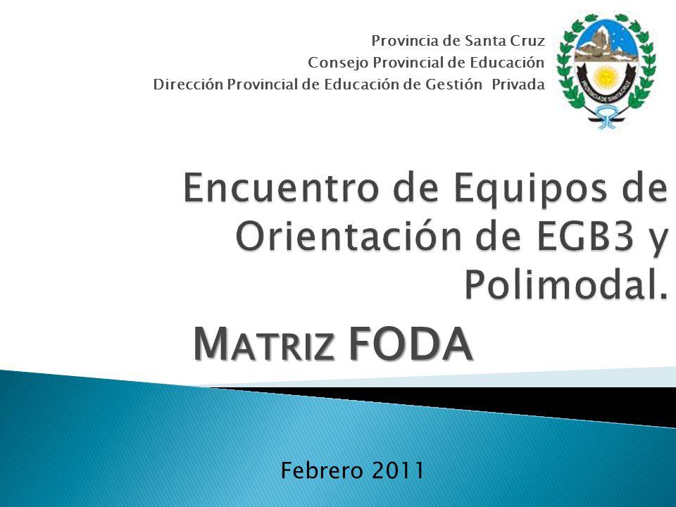 Provincia de Santa Cruz Consejo Provincial de Educación Dirección Provincial de Educación de Gestión Privada Febrero 2011 M ATRIZ FODA