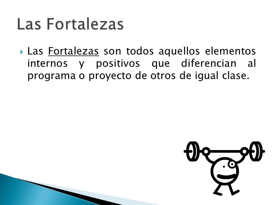  Las Fortalezas son todos aquellos elementos internos y positivos que diferencian al programa o proyecto de otros de igual clase.