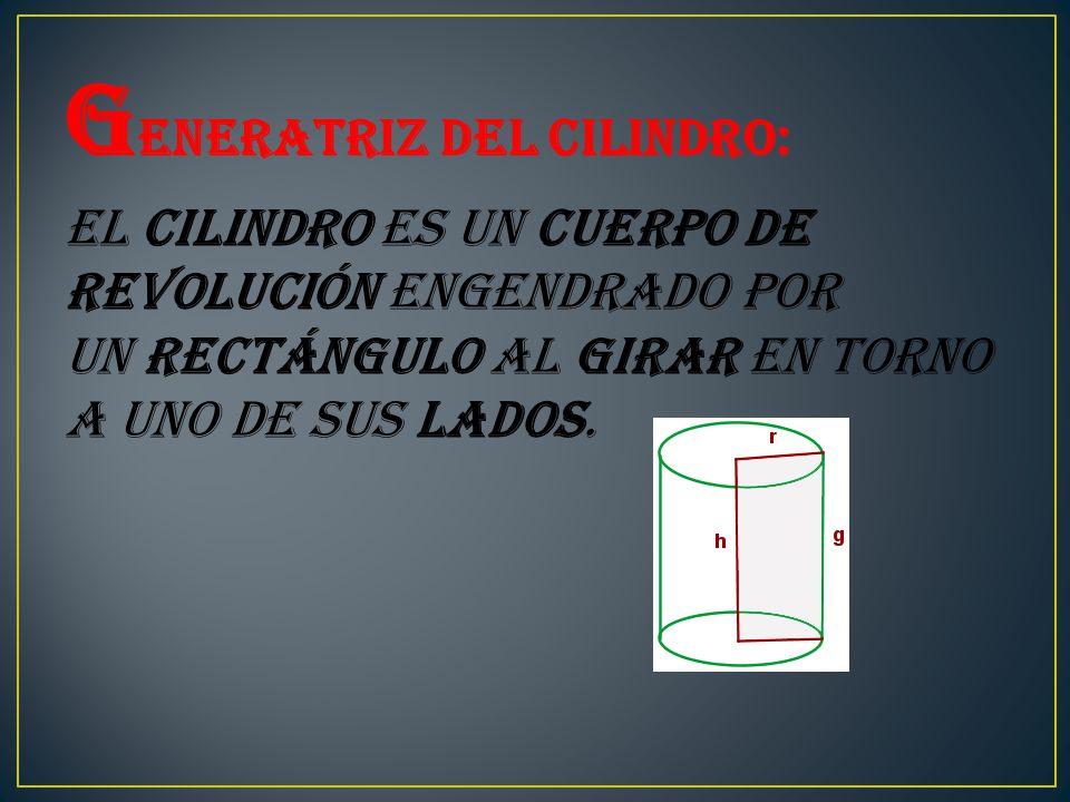 G eneratriz del cilindro: El cilindro es un cuerpo de revolución engendrado por un rectángulo al girar en torno a uno de sus lados.