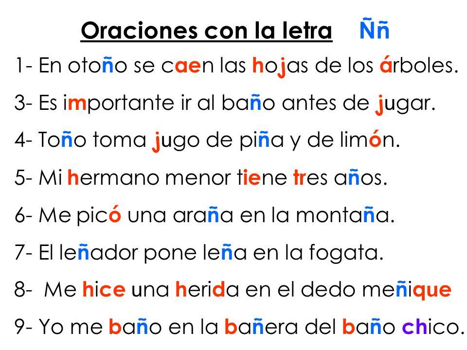 Oraciones con la letra Ññ 1- En oto ñ o se c ae n las h o j as de los á rboles.