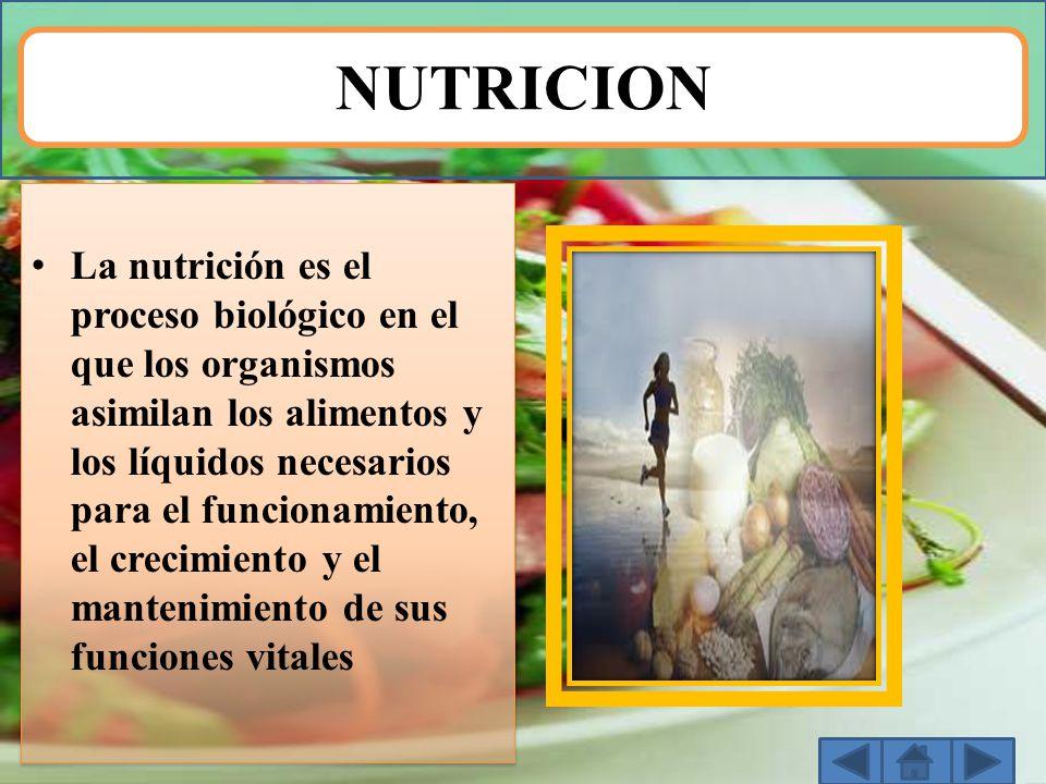 NUTRICION La nutrición es el proceso biológico en el que los organismos asimilan los alimentos y los líquidos necesarios para el funcionamiento, el cr