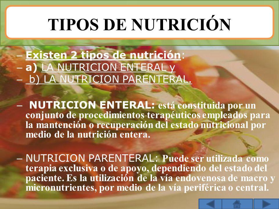 TIPOS DE NUTRICIÓN – Existen 2 tipos de nutrición: – a) LA NUTRICION ENTERAL y – b) LA NUTRICION PARENTERAL. – NUTRICION ENTERAL: está constituida por