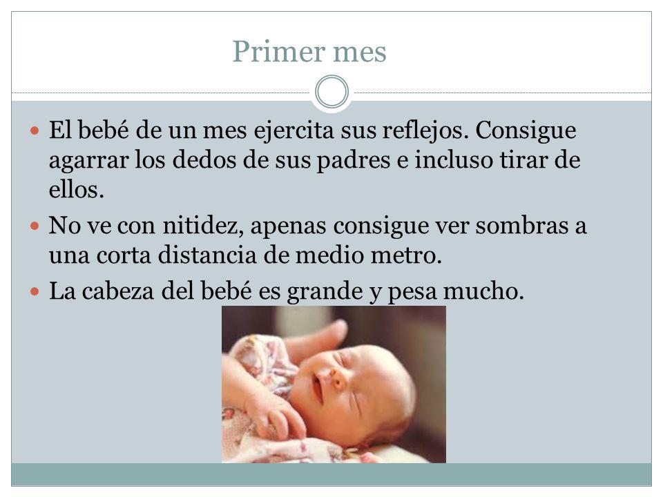 Primer mes El bebé de un mes ejercita sus reflejos. Consigue agarrar los dedos de sus padres e incluso tirar de ellos. No ve con nitidez, apenas consi
