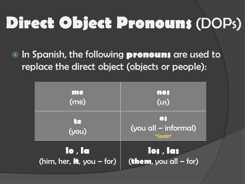  In Spanish, the following pronouns are used to replace the direct object (objects or people): Direct Object Pronouns (DOPs) me (me) nos (us) te (you) os (you all – informal) *Spain* lo, la (him, her, it, you – for) los, las ( them, you all – for)