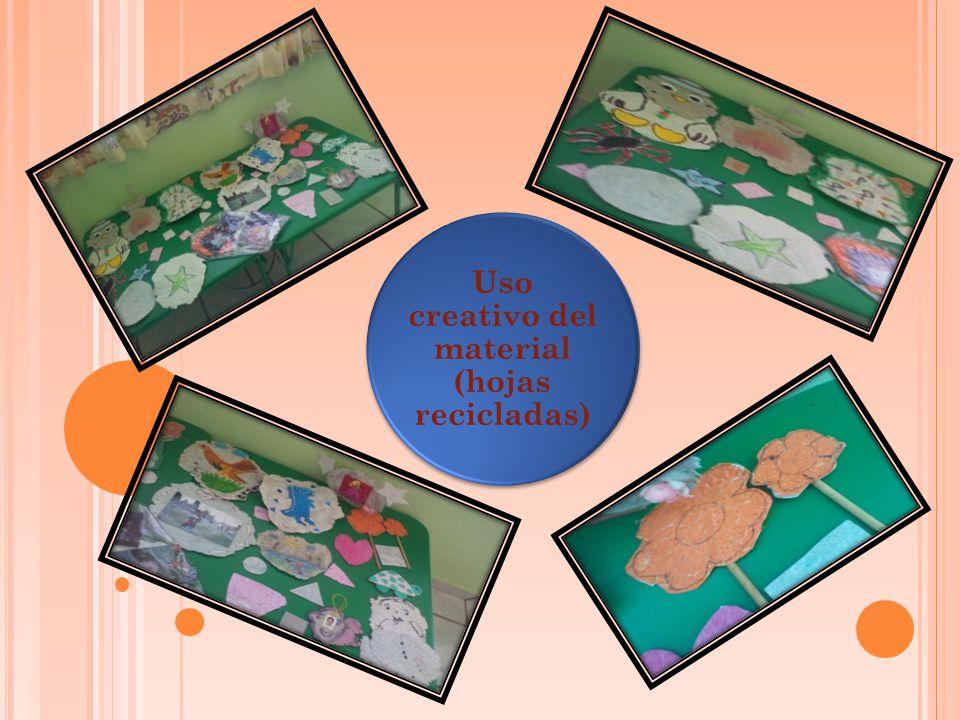 Uso creativo del material (hojas recicladas)