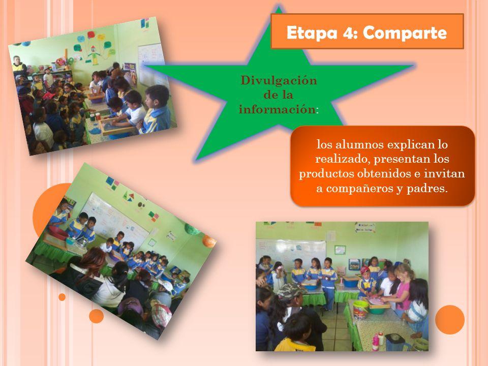Divulgación de la información : los alumnos explican lo realizado, presentan los productos obtenidos e invitan a compañeros y padres.