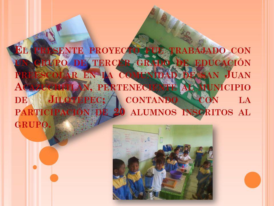 E L PRESENTE PROYECTO FUE TRABAJADO CON UN GRUPO DE TERCER GRADO DE EDUCACIÓN PREESCOLAR EN LA COMUNIDAD DE SAN J UAN A CAZUCHITLÀN, PERTENECIENTE AL MUNICIPIO DE J ILOTEPEC ; CONTANDO CON LA PARTICIPACIÓN DE 20 ALUMNOS INSCRITOS AL GRUPO.