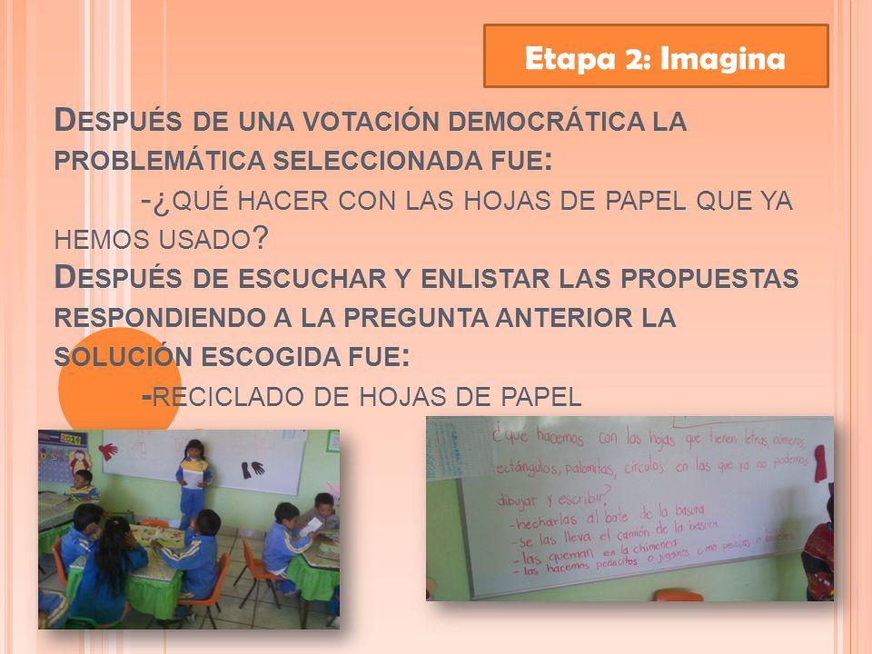 D ESPUÉS DE UNA VOTACIÓN DEMOCRÁTICA LA PROBLEMÁTICA SELECCIONADA FUE : -¿ QUÉ HACER CON LAS HOJAS DE PAPEL QUE YA HEMOS USADO .