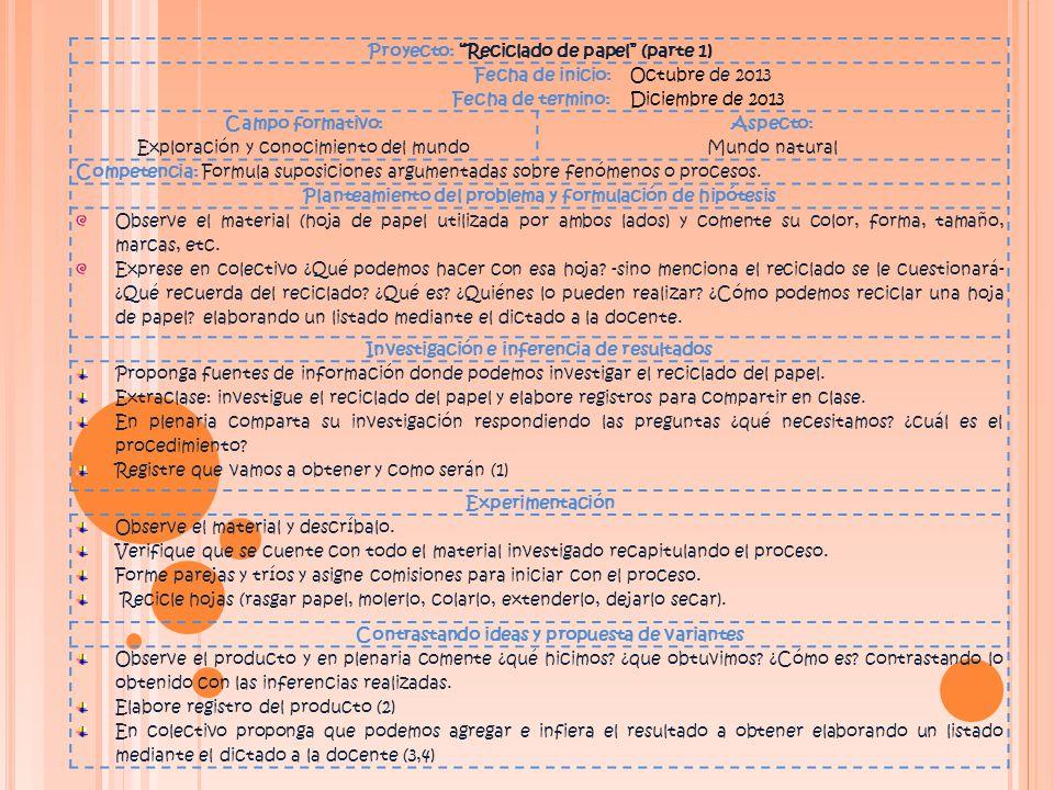 Proyecto: Reciclado de papel (parte 1) Fecha de inicio: Octubre de 2013 Fecha de termino: Diciembre de 2013 Campo formativo: Exploración y conocimiento del mundo Aspecto: Mundo natural Competencia: Formula suposiciones argumentadas sobre fenómenos o procesos.
