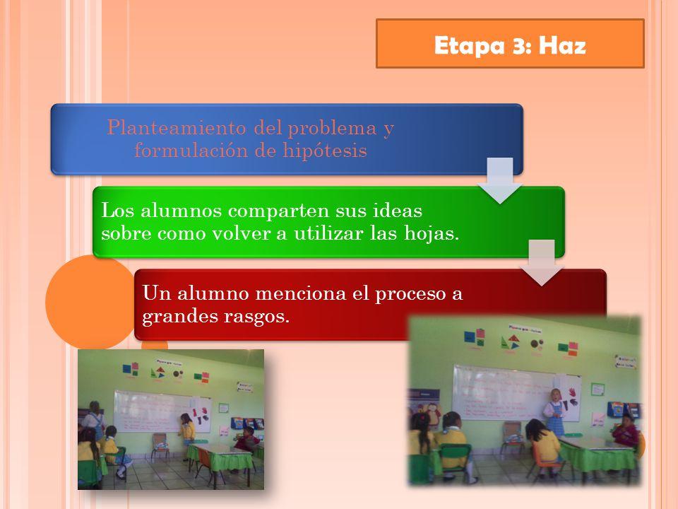 Etapa 3: Haz Planteamiento del problema y formulación de hipótesis Los alumnos comparten sus ideas sobre como volver a utilizar las hojas.