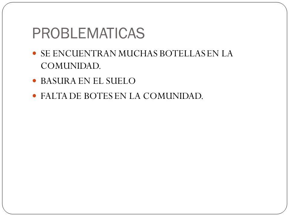 PROBLEMATICAS SE ENCUENTRAN MUCHAS BOTELLAS EN LA COMUNIDAD.