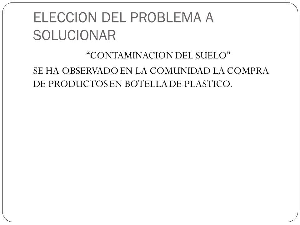 ELECCION DEL PROBLEMA A SOLUCIONAR CONTAMINACION DEL SUELO SE HA OBSERVADO EN LA COMUNIDAD LA COMPRA DE PRODUCTOS EN BOTELLA DE PLASTICO.