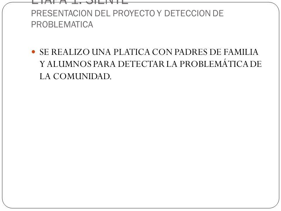 ETAPA 1: SIENTE PRESENTACION DEL PROYECTO Y DETECCION DE PROBLEMATICA SE REALIZO UNA PLATICA CON PADRES DE FAMILIA Y ALUMNOS PARA DETECTAR LA PROBLEMÁTICA DE LA COMUNIDAD.