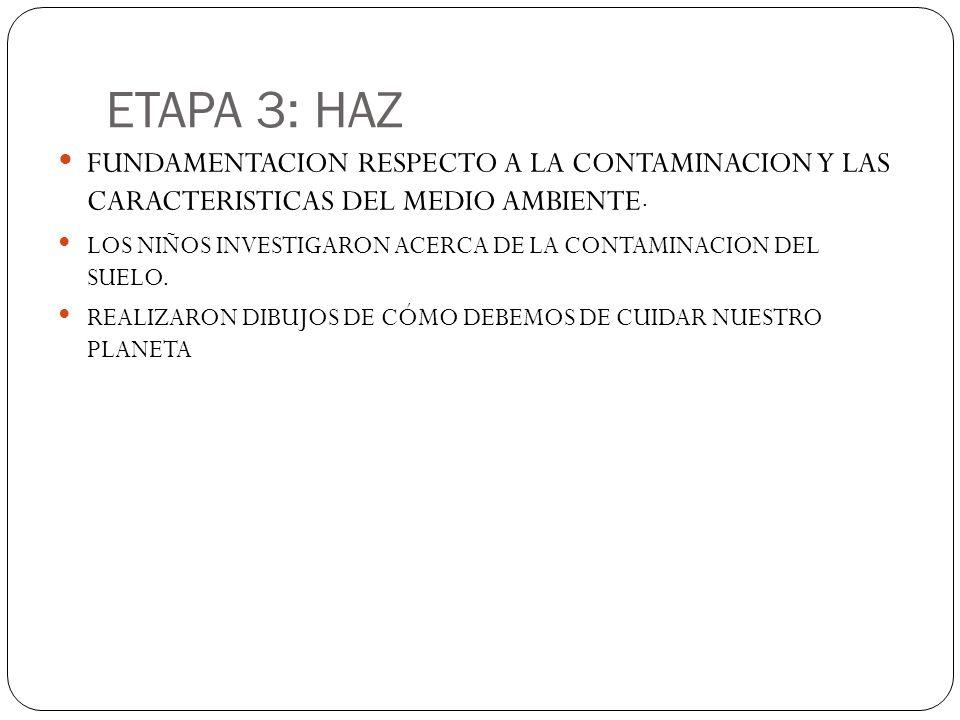 ETAPA 3: HAZ FUNDAMENTACION RESPECTO A LA CONTAMINACION Y LAS CARACTERISTICAS DEL MEDIO AMBIENTE.