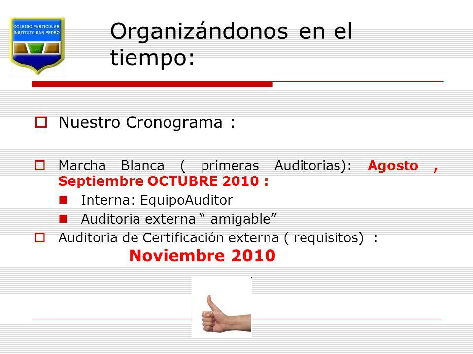 Organizándonos en el tiempo:  Nuestro Cronograma :  Marcha Blanca ( primeras Auditorias): Agosto, Septiembre OCTUBRE 2010 : Interna: EquipoAuditor Auditoria externa amigable  Auditoria de Certificación externa ( requisitos) : Noviembre 2010