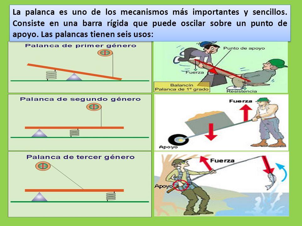 La palanca es uno de los mecanismos más importantes y sencillos.