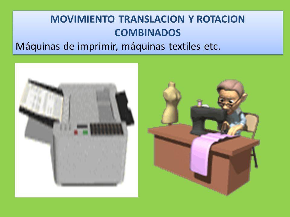 MOVIMIENTO TRANSLACION Y ROTACION COMBINADOS Máquinas de imprimir, máquinas textiles etc.