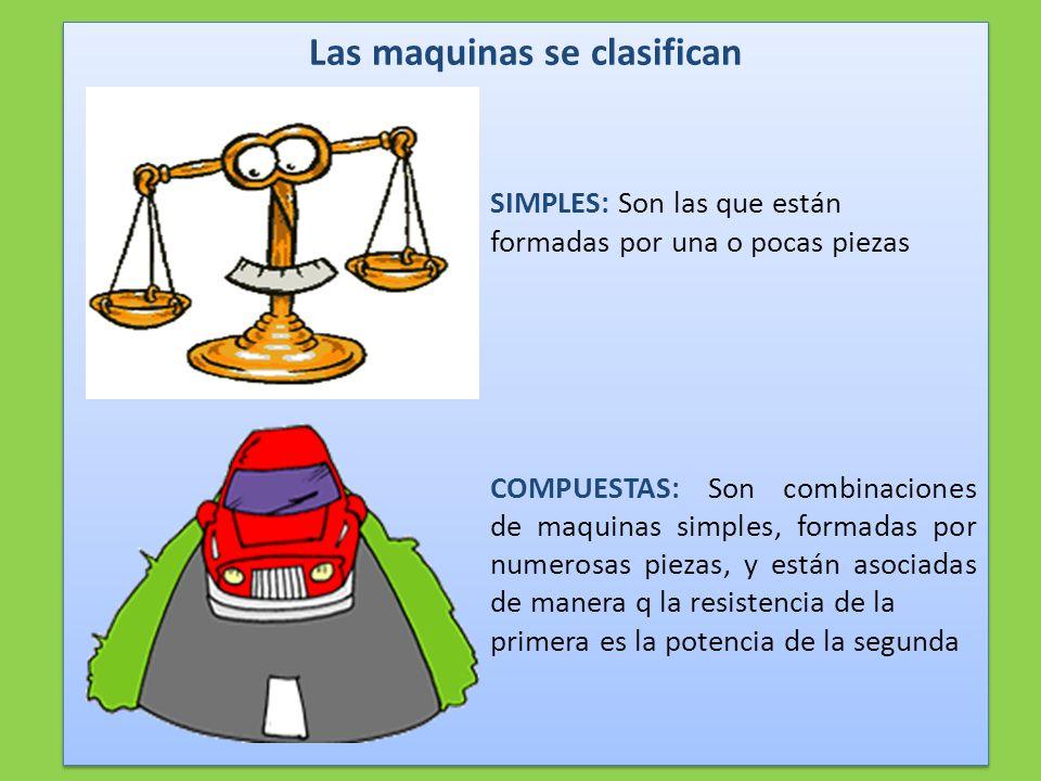 Las maquinas se clasifican SIMPLES: Son las que están formadas por una o pocas piezas COMPUESTAS: Son combinaciones de maquinas simples, formadas por numerosas piezas, y están asociadas de manera q la resistencia de la primera es la potencia de la segunda Las maquinas se clasifican SIMPLES: Son las que están formadas por una o pocas piezas COMPUESTAS: Son combinaciones de maquinas simples, formadas por numerosas piezas, y están asociadas de manera q la resistencia de la primera es la potencia de la segunda