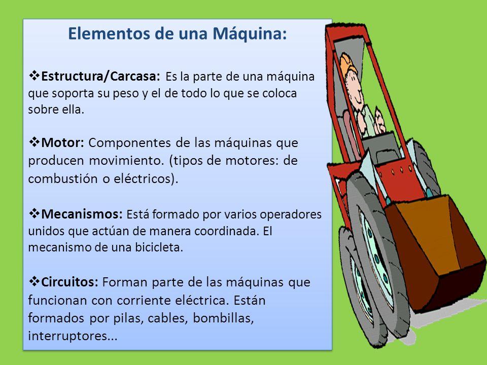 Elementos de una Máquina:  Estructura/Carcasa: Es la parte de una máquina que soporta su peso y el de todo lo que se coloca sobre ella.