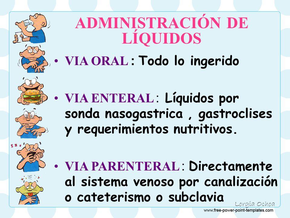 Lorgia Ochoa ADMINISTRACIÓN DE LÍQUIDOS VIA ORAL : Todo lo ingerido VIA ENTERAL : Líquidos por sonda nasogastrica, gastroclises y requerimientos nutritivos.