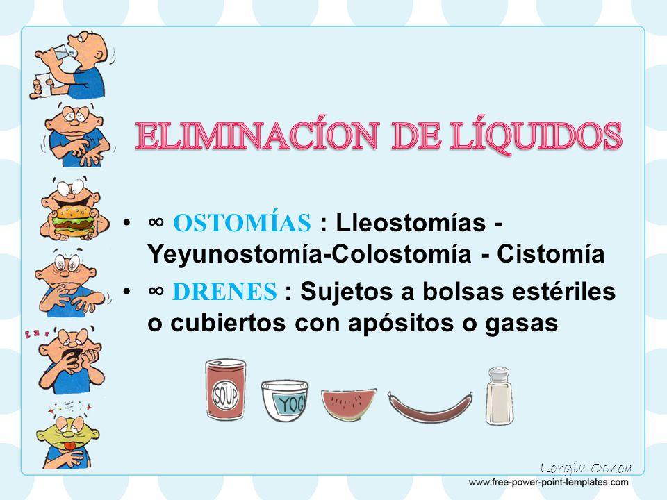 Lorgia Ochoa ∞ OSTOMÍAS : Lleostomías - Yeyunostomía-Colostomía - Cistomía ∞ DRENES : Sujetos a bolsas estériles o cubiertos con apósitos o gasas