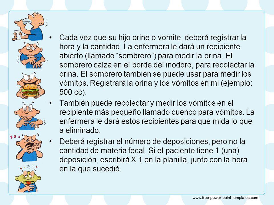 Cada vez que su hijo orine o vomite, deberá registrar la hora y la cantidad.