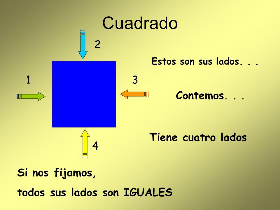 Estos son sus lados... Tiene cuatro lados Cuadrado 1 2 3 4 Si nos fijamos, todos sus lados son IGUALES Contemos...