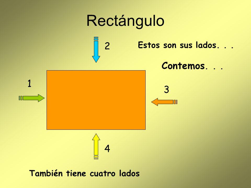 Rectángulo Observemos el tamaño de sus lados Tiene dos lados grandes iguales y dos lados pequeños iguales Pequeño Grande
