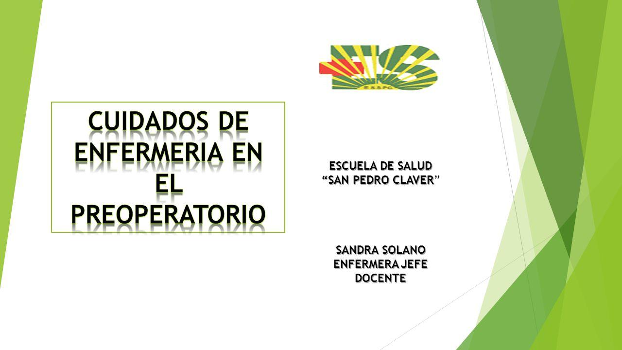 """ESCUELA DE SALUD """"SAN PEDRO CLAVER """"SAN PEDRO CLAVER"""" SANDRA SOLANO ENFERMERA JEFE DOCENTE"""