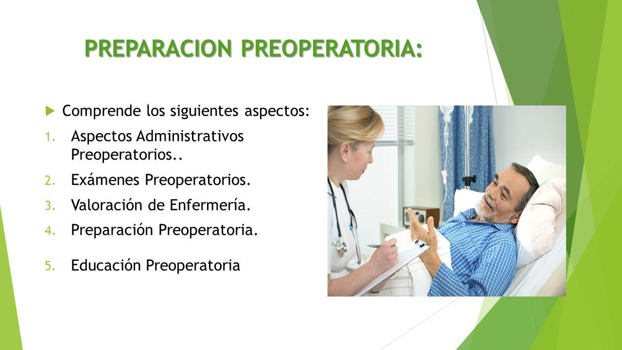 PREPARACION PREOPERATORIA:  Comprende los siguientes aspectos: 1. Aspectos Administrativos Preoperatorios.. 2. Exámenes Preoperatorios. 3. Valoración
