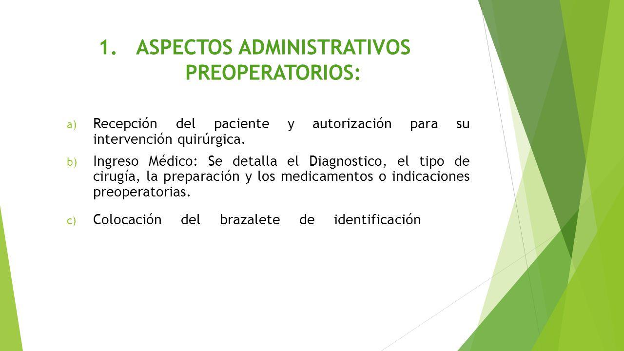 1.ASPECTOS ADMINISTRATIVOS PREOPERATORIOS: a) Recepción del paciente y autorización para su intervención quirúrgica. b) Ingreso Médico: Se detalla el