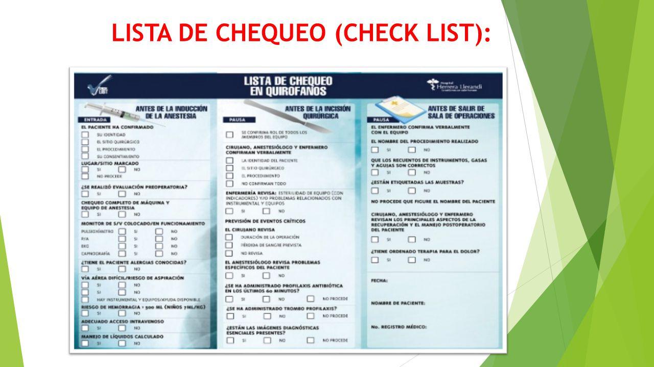 LISTA DE CHEQUEO (CHECK LIST):